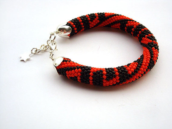 Bead Crochet Rope Bracelet Black And Orange Beaded Beads Jewelry Plus Size